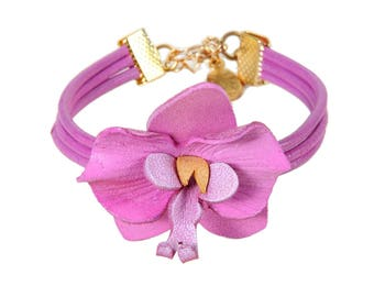Leather cords bracelet Orchid in bloom with cowhide leather