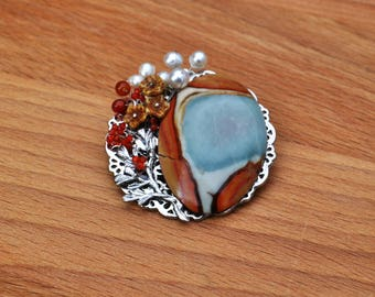 "Brooch with natural jasper ""Desert Oasis"""
