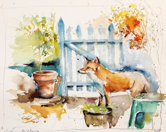 "Original watercolor painting-free shipping """" Red Fox is lost in the garden (watercolor painting red fox backyard nature) """""