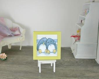 Modern image, motif Penguin 1:12 for the Doll House, dollhouse miniatures, dollhouse miniatures
