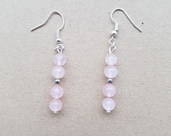 Rose Quartz Bead Earrings