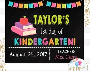 First Day of Kindergarten Printable Chalkboard Sign