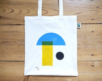 Hand Painted Geo Print Tote Bag - Limited Edition