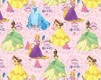 """Princesses Listen to your heart by Springs Industries, 43-44"""" wide, 100% cotton, by the half yard"""