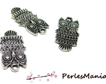 10 H1643 old silver OWL charm pendants