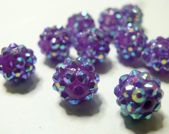 10 pearls 12 * 10mm purple shambala