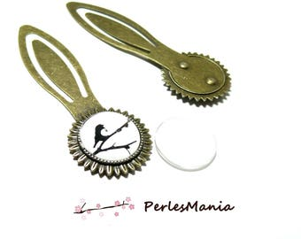 2 pieces: 1 medium bookmark ARTY 18mm Bronze H3327 and 1 cabochon