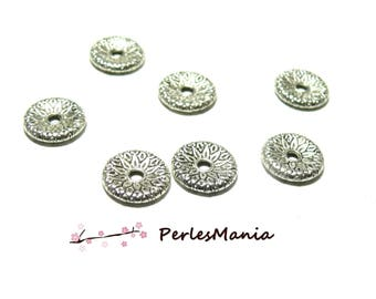 10 beads spacer flat STYLE flower 13mm ZN48333 ANTIQUE silver color metal