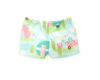 Baby Pajama Shorts, Camping Trip, Turquoise, Pink, Yellow, Bitty Baby, Bitty Twin, 15 inch Doll Clothes