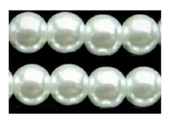 Set of 10 white glass pearl beads 10 mm