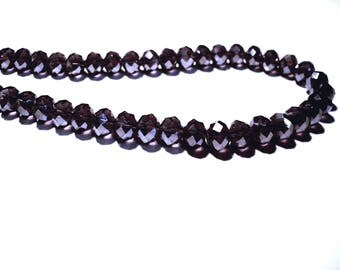 Set of 6, glass beads in purple gray reflections, faceted 8 mm