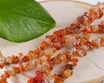 "36"" CARNELIAN Chip Necklace - Carnelian Bead Necklace, Carnelian Jewelry, Carnelian Stone, Carnelian Necklace, Healing Crystal Jewelry E0780"