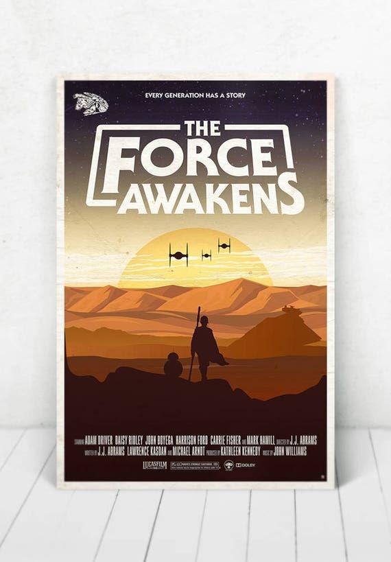 Star Wars Movie Poster Illustration / Star Wars Movie Poster / Movie Poster / Star Wars / The Force Awakens