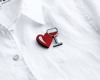 Wine glass heart pin brooch, red silver, wine pin, wine brooch, heart pin, heart brooch, fashion brooch, fashion pin, creative jewelry