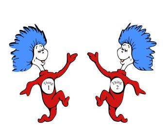 Thing 1 and thing 2 svg; svg file; dxf svg; png svg; jpeg svg; cricut file; silhouette file