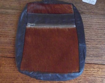 1970s fur and leather wrist strap clutch bag