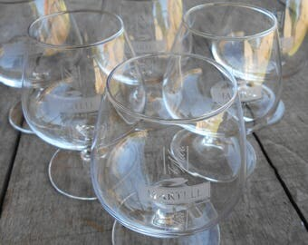 Set of Six Martell Cognac Glasses. Vintage French Cafe/Barware.