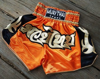 New Custom Muay Thai Boxing Shorts Martial Arts - Orange