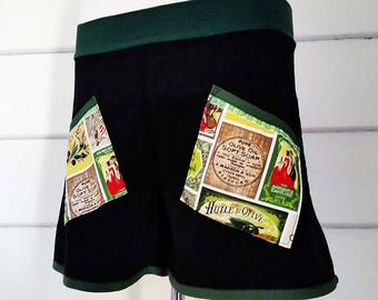Women's Teens Corduroy Shorts Black Olive Printed Cotton Vintage Look Pocket Shorts Vintage Lace Ooak Shorts Australian Made High Waisted
