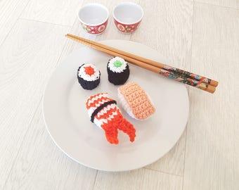 Dinette sushi and salmon maki, avocado and shrimp is hand crochet