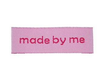 "20 tags ""Made By Me"" fabric 4.5 cm"