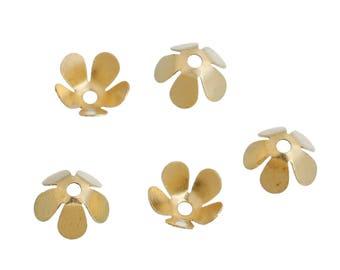 50 flower bead caps in metal gold 8x8mm
