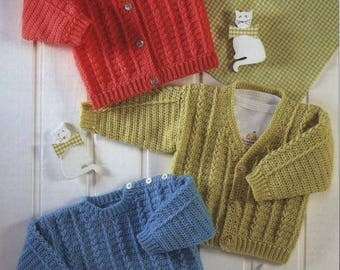 Baby / Childrens Sweater And Cardigan, Round & V Neck, Crochet Pattern. PDF Instant Download.