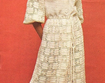 Ladies Long Dressing Gown, Crochet Pattern. PDF Instant Download.