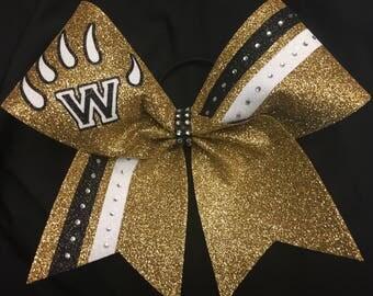 Custom Made Glitter Cheer Bow Rhinestones Stripes