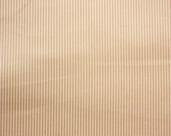 Fine Striped Fabric, Beige, Cream, Khaki, Stripe Fabric, Cotton Fabric, Craft Fabric, Quilting Sewing Craft Supplies, Extra Wide, Half Metre
