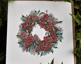 Festive Berry Wreath Greeting card 6 x 6 ''
