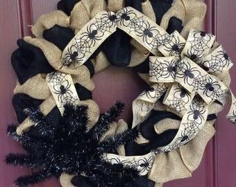 Spider Wreath, Halloween Wreath, Halloween Burlap Wreath, Halloween Spider Wreath, Spider Burlap Wreath, Black Spider Wreath