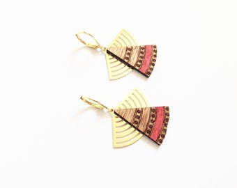 "Earrings ""Kaïko"" mahogany and golden metal"