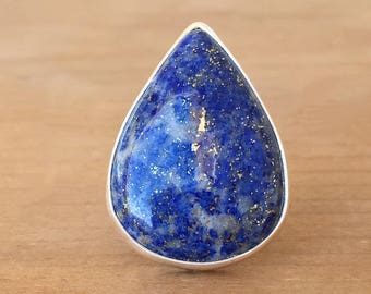 Lapis Lazuli Ring, Lapis Silver and Sterling Silver Ring, Teardrop Lapis Ring, Gemstone Ring, Adjustable Ring, Lapis Ring, Crystal Ring