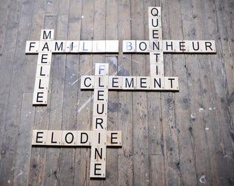Lettres scrabble en bois massif - création sur commande - home, love, smile ou autre mots - scrabble letters massive wood, fully handmade