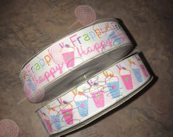 "Frappi Happy  / Coffee Shop       7/8"" ribbon   Coordinated grosgrain set for bows and crafts"