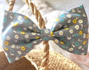 Grey Floral Bow