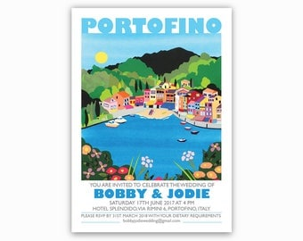 PRINT AT HOME Portofino, Italy Destination Invites - Single sided. Italian Riviera, Mediterranean wedding invitations. Harbour, boats, sea.