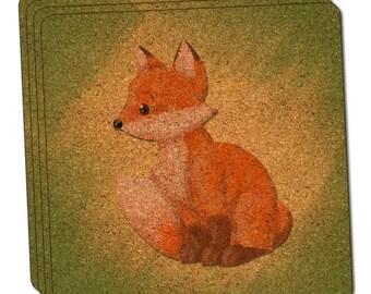 Pastel Cute Fox Thin Cork Coaster Set Of 4