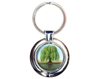 Old Weeping Willow Tree Keychain Key Ring