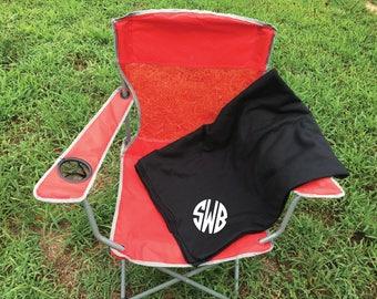 Monogram Stadium Blanket.  Fall Football stadium throw blanket.  Sweatshirt material.