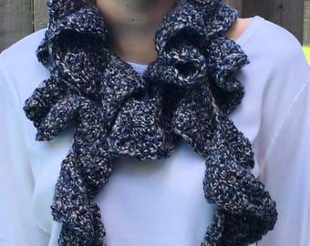 Gray ruffle scarf