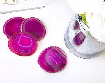 Agate coasters. Pink with Gold leaf edging. Unique gift present. Boho chic coffee table home decor. Bohemian style. Price per coaster