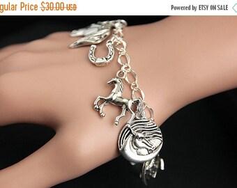 EASTER SALE Horse Bracelet.  Horse Charm Bracelet. Horse Lover Bracelet. Silver Charm Bracelet. Handmade Jewelry.
