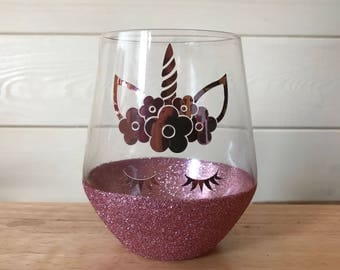 Unicorn stemless style glass Unicorn glasses with glitter base in rose gold