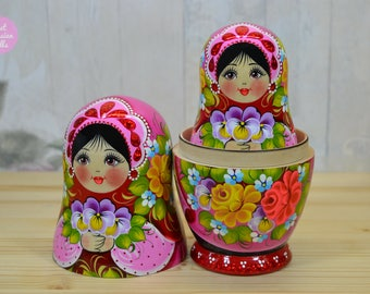 Russian nesting doll, Gift for wife, Brunette babushka with brown eyes, Matryoshka, Gift for woman, Art dolls, Wooden stacking dolls
