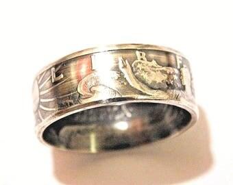 Walking Liberty Half Dollar Silver .900 Coin Ring Marine Made Sizes 8-14
