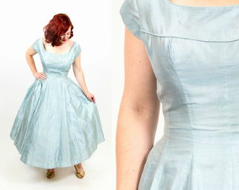1950s Pale Blue Party Dress - Small