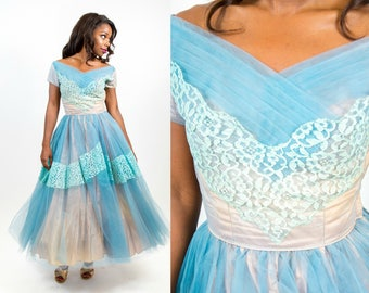 On Hold 1950s Blue and Peach Party Tulle and Lace Dream Party Dress - XS