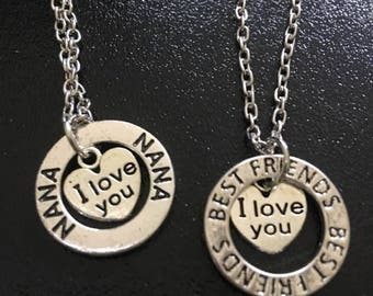 Handstamped Nana Necklace,Bestfriends Necklace,I love you Jewelry,Friend Gift,Nana Gift,Inspirational,Half Moon